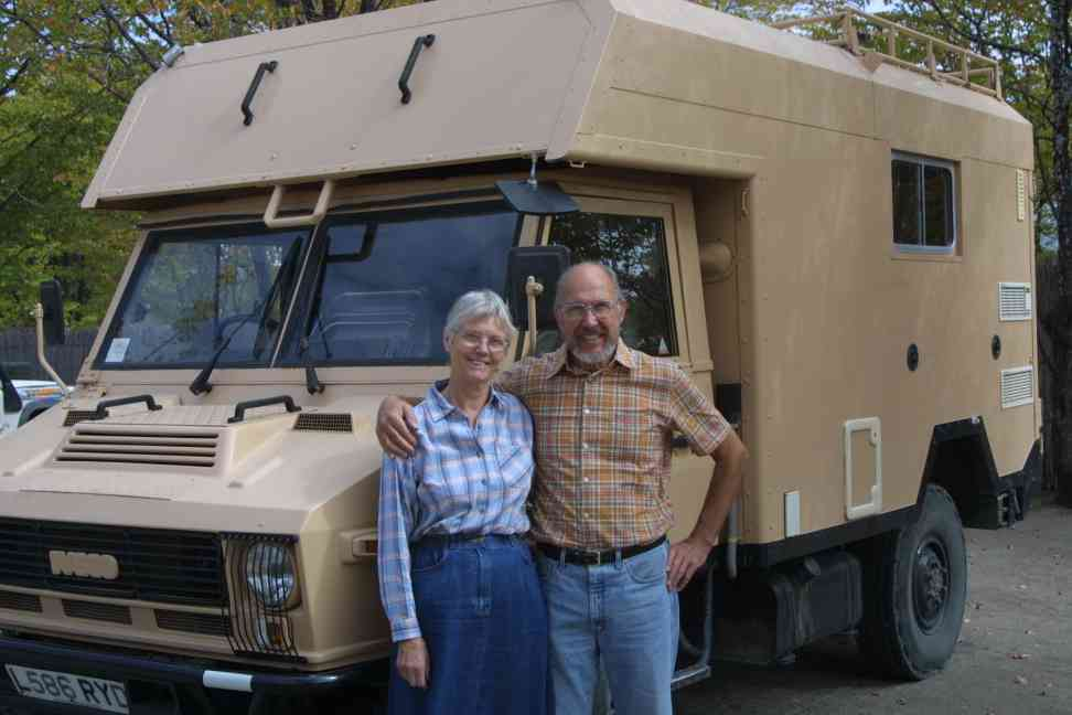 Austin and Una with their vehicle
